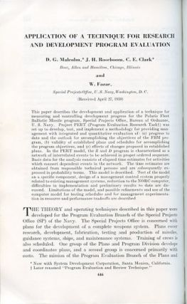 Application of a technique for research and development program evaluation in Operations Research 7 No. 5 pp. 646 – 669, September-October 1959 [Pioneering Statistical Tool: PERT]