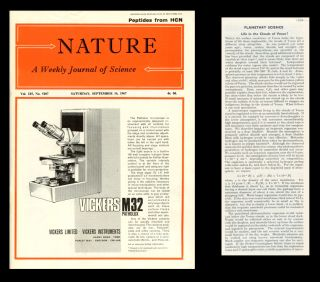 Life in the Clouds of Venus? In Nature 215, Issue 5107, pp. 1259-1260, September 16, 1967 [SAGAN...