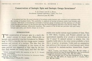 """Conservation of Isotopic Spin and Isotopic Gauge Invariance"" in Physical Review 96 (1), October 1, 1954, pp. 191-196"