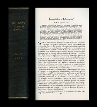 Transmission of Information in Bell System Technical Journal 7, 1928, pp. 535-563. Ralph Hartley