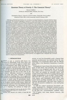 Quantum Theory of Gravity. I. The Canonical Theory in Physical Review 160 No. 5, 25 August 1967,...