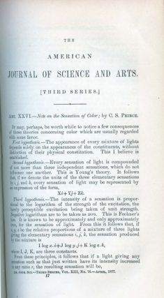 Note on the Sensation of Color in The American Journal of Science and Arts, Third Series, Vol....