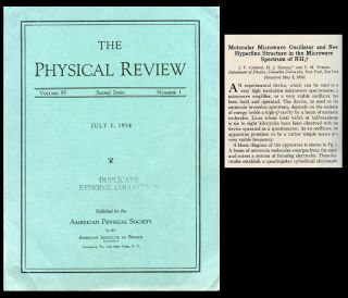 """Molecular Microwave Oscillator and New Hyperfine Structure in the Microwave Spectrum"" + Van Hove, Léon. ""Correlations in Space and Time and Born Approximation Scattering in Systems of Interacting Particles"" in Physical Review 95, Number 1, July 1, 1954, pp. 282-284; pp.249-262. J. P. Gordon, H. J. Zeiger, C. H. + Van Hove Townes, Leon."