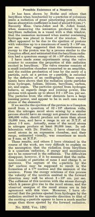 """Possible Existence of a Neutron"" in Nature Vol. 129, January to June, 1932. James Chadwick."