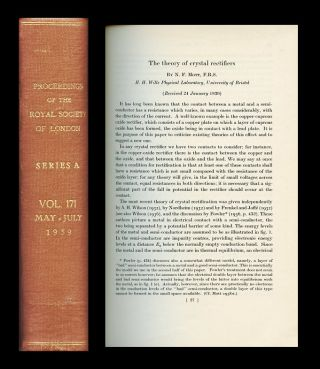 """The Theory of Crystal Rectifiers"" in Proceedings of the Royal Society of London A 171, 1939,..."