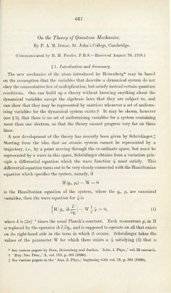 """""""On the Theory of Quantum Mechanics"""" in Proceedings of the Royal Society A. 112, 1926, pp. 661-677"""