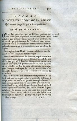 """Accord de différentes loix de la nature qui avoient jusqu'ici paru incompatibles"" (Accord between different laws of Nature that seemed incompatible) in Mémoires de l'Académie Royale des Sciences Année 1744, 1748, pp. 417–426"