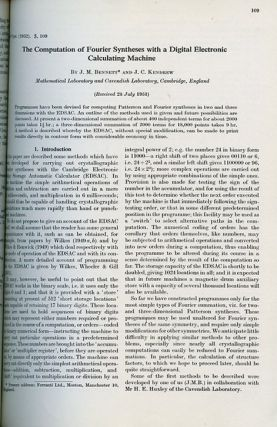 TheComputationofFourierSyntheses with a Digital Electronic Calculating Machine in Acta Crystallographica, Volume 5, 1952, pp.109-116
