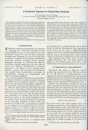 A Relativistic Equation for Bound-State Problems in Physical Review, Volume 84, 6, December 15, 1951, p. 1232