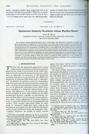 Spontaneous Symmetry Breakdown without Massless Bosons in Physical Review Volume 145, 1966, pp....