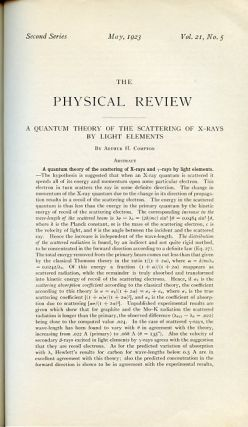 A Quantum Theory of the Scattering of X-rays by Light Elements in Physical Review 21, May 1923,...