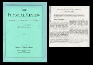 Statistics of the Recombinations of Holes and Electrons in The Physical Review, Volume 87, 1952,...