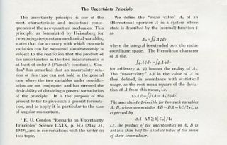 The Uncertainty Principle in The Physical Review 34, 1, July 1, 1929, pp. 163-164 [ORIGINAL WRAPS OF A SEMINAL MODIFICATION OF THE HEISENBERG UNCERTAINTY PRINCIPLE]