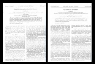Large Mass Hierarchy from a Small Extra Dimension in Physical Review Letters 83 Issue 17, 25...