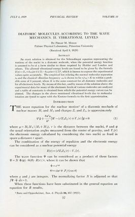 Diatomic Molecules According to the Wave Mechanics. II Vibrational Levels, The Physical Review, Volume 34, 1, July 1, 1929, pp. 57-65 [ORIGINAL WRAPPERS]