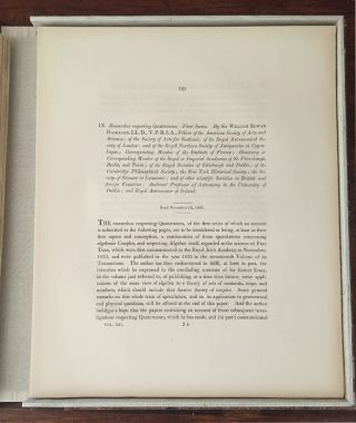 """Researches Respecting Quaternions, First Series"". Read November 13, 1843. Published in The Transactions of Royal Irish Academy. Vol. XXI, Part II. 1848, pp. 199-296. Sir William Rowan Hamilton."