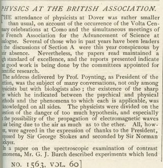 """Physics at the British Association"" in Nature 60, May 1899 to October 1899, pp. 585-587"