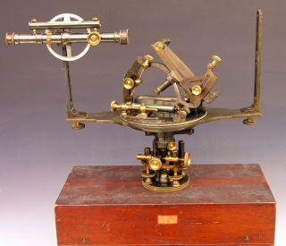 Fine 1878 Surveyor's Telescopic Solar Compass, Rare Complete