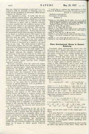 """Plane gravitational waves in general relativity"" in Nature 179, May 25, 1957, pp. 1072–1073. H. Bondi, Hermann."