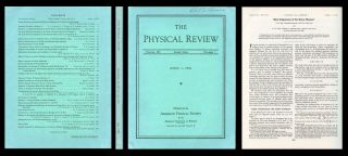 """Mass Degeneracy of the Heavy Mesons"" in Physical Review 102 No. 1, April 1956, pp. 290-291. T...."