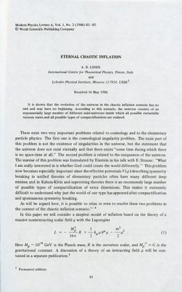 """Eternal Chaotic Inflation"" in Modern Physics Letters A, Volume 1, Number 2, May 1986, pp...."