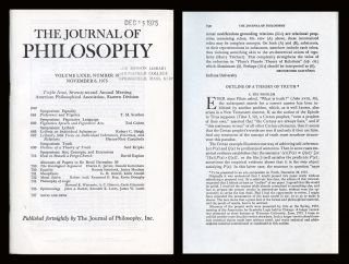 """Outline of a Theory of Truth"" in The Journal of Philosophy, Col. LXXII, No. 19, Nov. 6,..."
