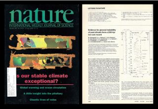 """Evidence for General Instability of Past Climate From a 250-kyr Ice-core Record"" in Nature, Volume 364, No. 6434, 15 July 1993, pp. 218-220. W. Dansgaard, Willi, S. J. Johnsen, H. B. Clausen, D. Dahl-Jensen."