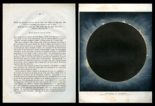 """The Bakerian Lecture. On Some Total Solar Eclipse of July 18th, 1860, observed at Rivabellosa, near Miranda de Ebro, in Spain"". [Received January 30, Read April 10, 1862] extracted from Philosophical Transactions of the Royal Society of London for the Year 1862, 152, Part I, Pp. 333-416. Warren De la Rue."