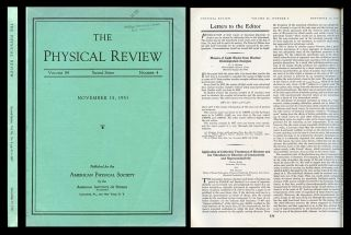 """Application of Collective Treatment of Electron and Ion Vibrations to Theories of Conductivity and Superconductivity"" in Physical Review, Vol. 84, No. 4, November 15, 1951, pp. 836-837. David Bohm, Tor Staver."