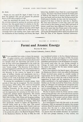 Memoriam Symposium Held in Honor of Enrico Fermi at the Washington Meeting of the American Physical Society, April 29, 1955. Hans A. Bethe Presiding in Reviews of Modern Physics, Vol. 27, Issue #3, July, 1955, pp. 249-276