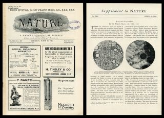 """Liquid Crystals"" [Special Supplement] in Nature 133, No. 3360, March 24, 1934. Sir William Bragg."